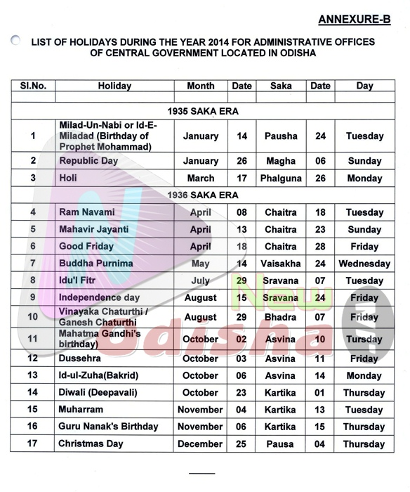 Central Govt Compl Holidays 2014 in Odisha