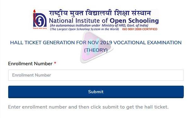 National Institute of Open Schooling : Hall Tickets for Vocational Theory Paper 2019