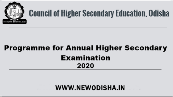 CHSE Odisha +2 Exam Schedule 2020 (Arts, Science, Commerce)