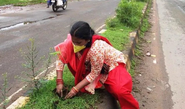 Lady teacher from Angul on plantation drive to save Ecology