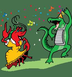 crawfish and alligator dancing vector clip art [ 2541 x 2524 Pixel ]