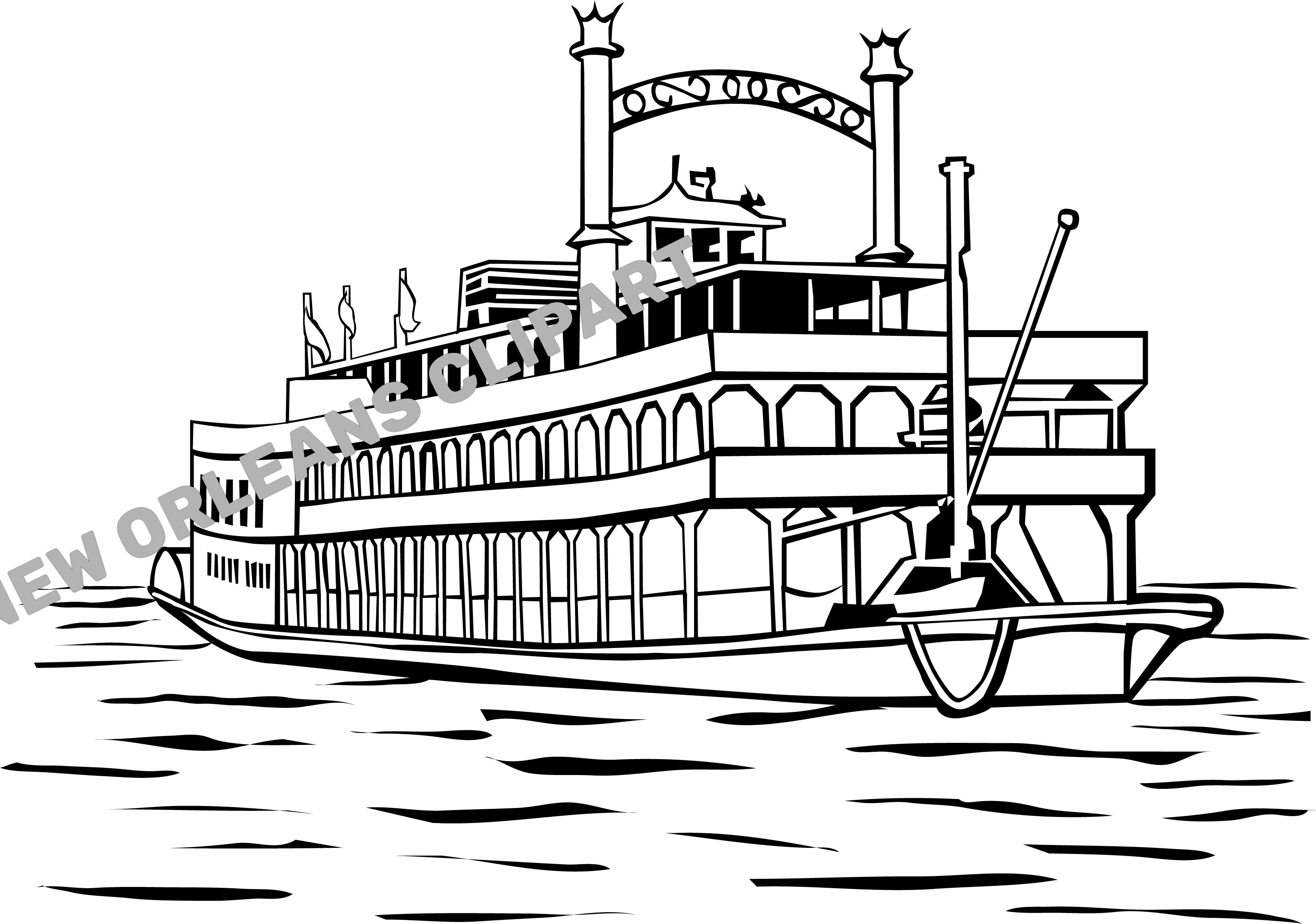New Orleans Steam Boat Clip Art