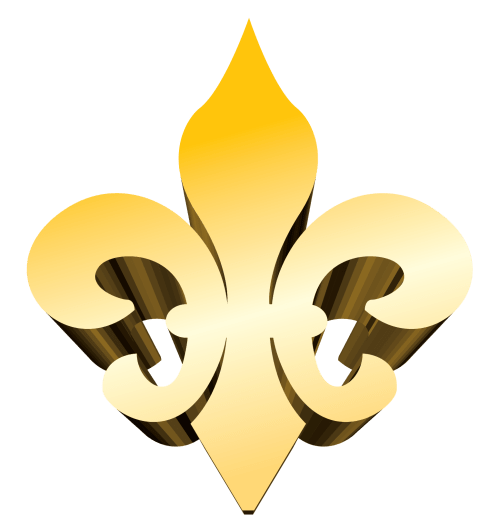 small resolution of 3 d gold fleur de lis vector clip art