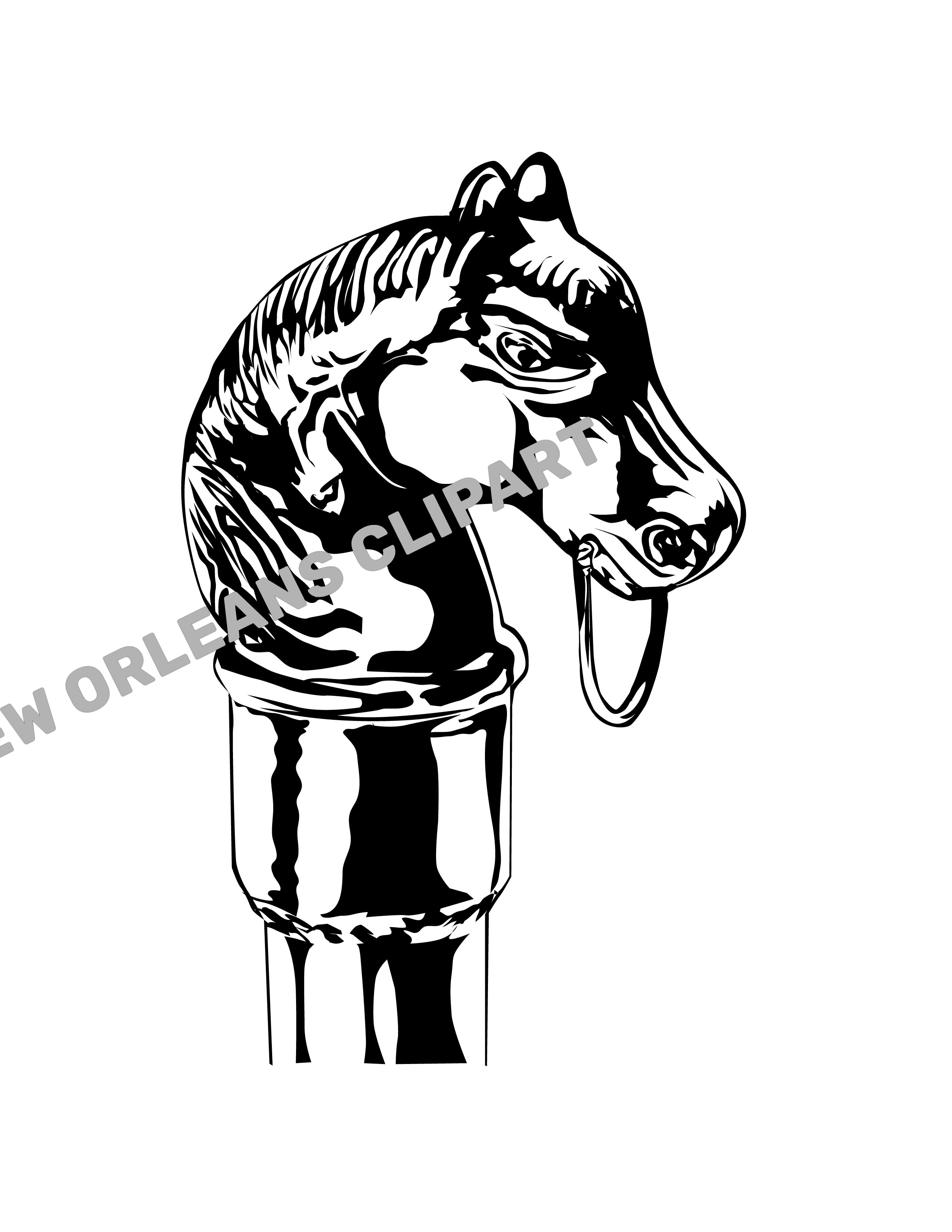 Black And White Horse Hitch Vector Clip Art