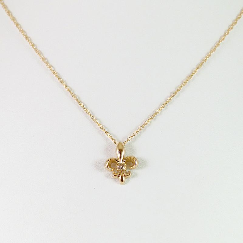 14k yellow gold fleur de lis pendant on chain with diamond solitaire 14k yellow gold fleur de lis pendant on chain with diamond solitaire aloadofball Images