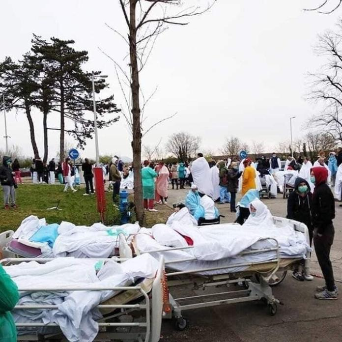 In Italy, Coronavirus patients are waiting in the lawns