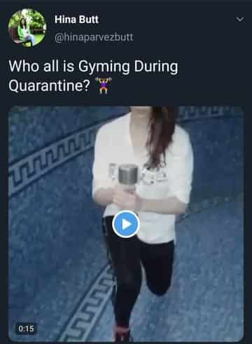 Hina Butt deleted video who all is gyming during quarantine