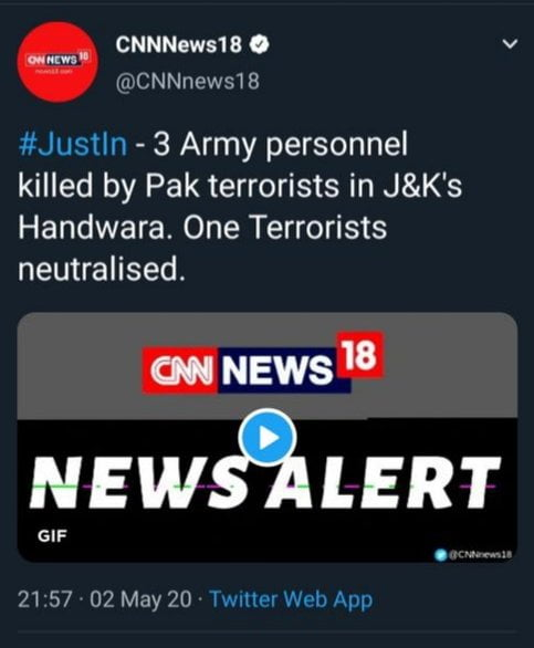Three officers of Indian army has been killed in Chenjmohalla forest area of Handwara town.