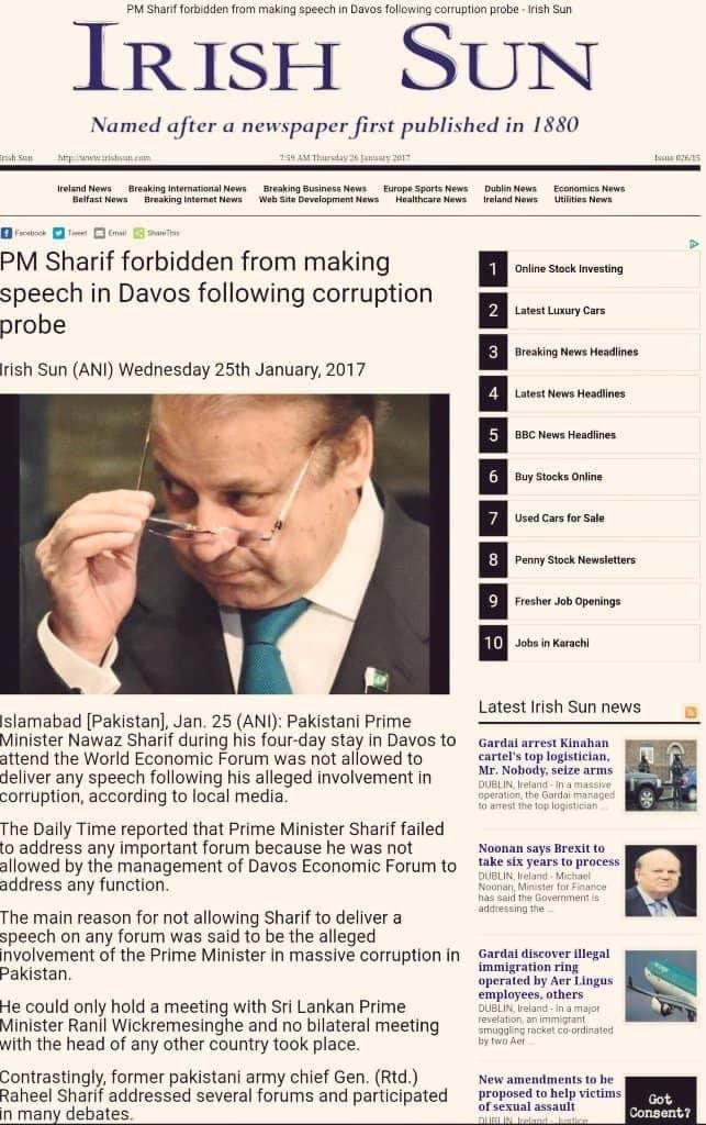 Nawaz Sharif was forbidden from making speech in Davos due to corruption investigation