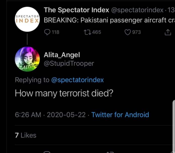 Indian citizen trolls over the news of Pakistani pessannger aircraft crash