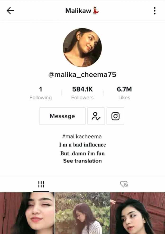 Malika Cheema Tiktok profile