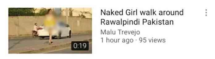 Woman walks undressed on the road in Rawalpindi