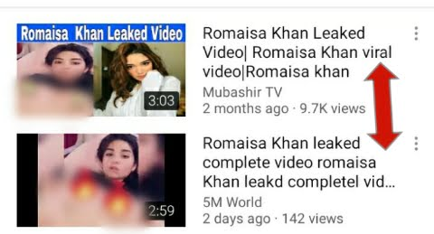 Screenshot of Romaisa Khan leaked video published on YouTube