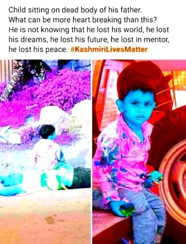 People mourn on the viral images of Three-Year-old Kashmiri baby