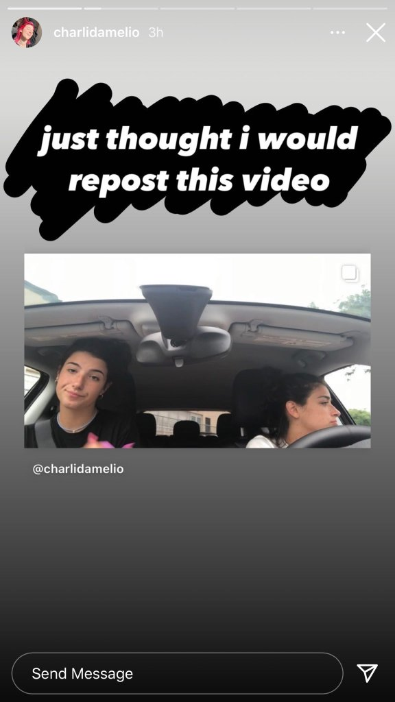 Charli D'amelio posts original video on her Instagram story. Sound in The original video is noticeably different than the one Trisha Paytas shared