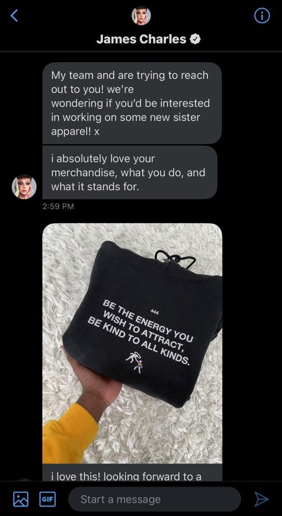 James Charles reaches out to merch Designer and offers him to work with his team