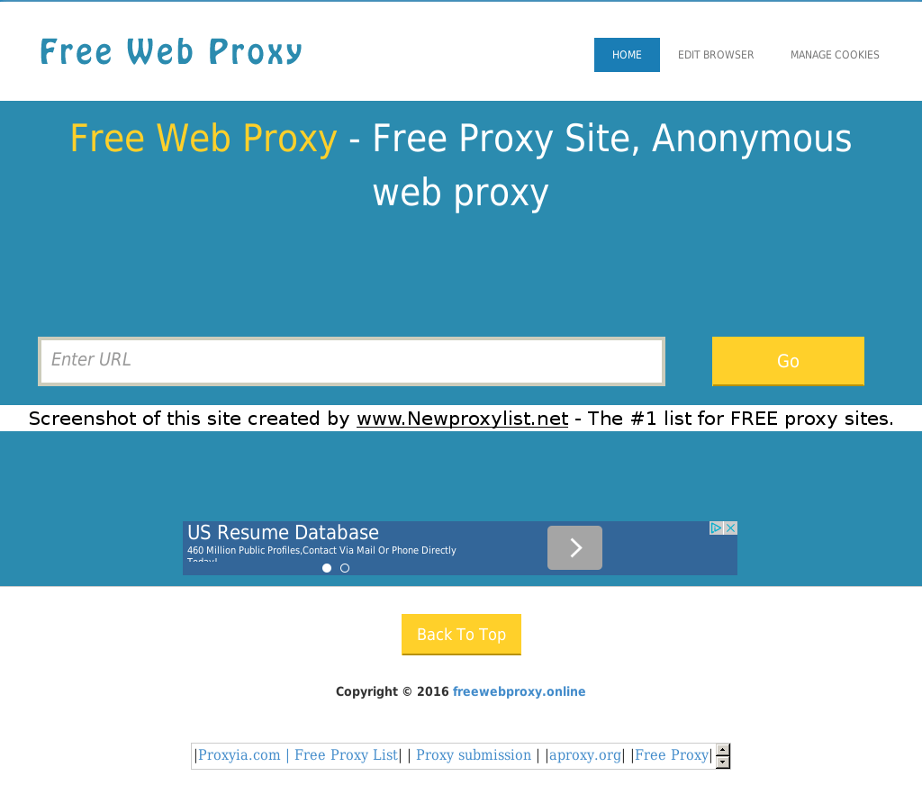 New Proxy List   Proxy site details for: