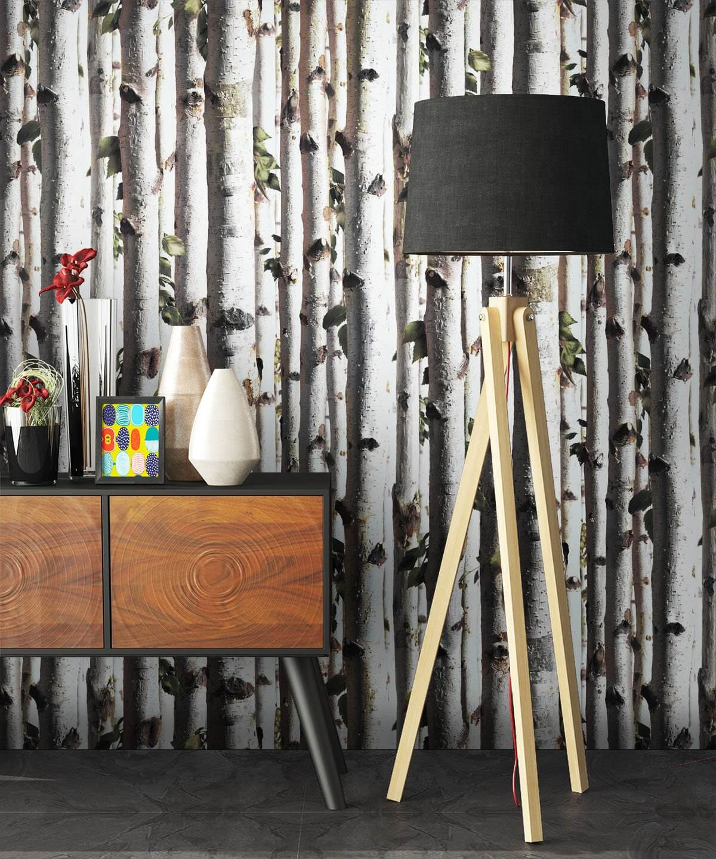 Vliestapete  Braun  Landhaus   Birke  Holz  newroom