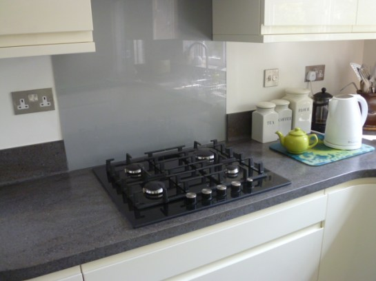Bosch gas hob set in lava rock corian worktop