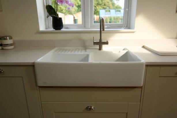 Ceramic belfast sink and Franke Minerva kettle tap