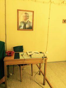 Tito's portrait over a desk in the military bunker in Konjic, Bosnia.