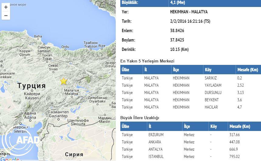 В Малатье произошло землетрясение силой 4,1