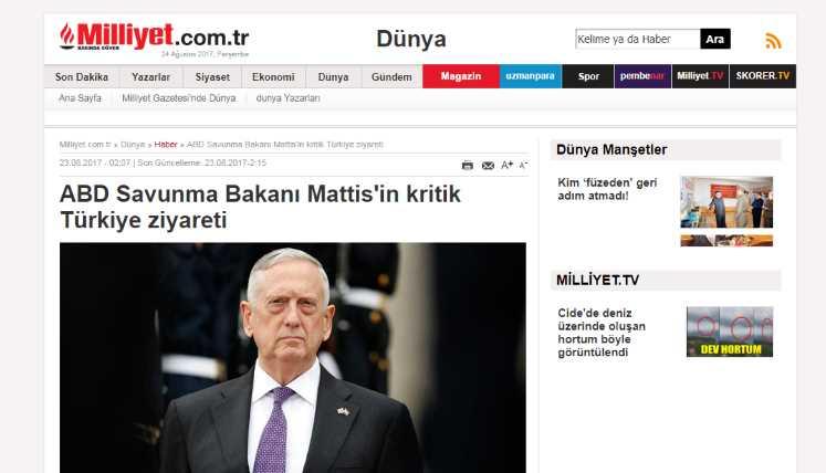 Критический визит министра обороны США Мэттиса в Турцию