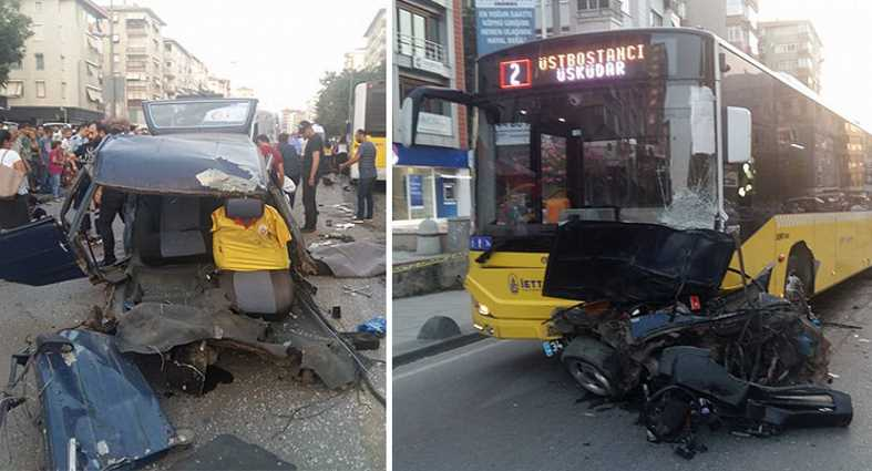 Жители Кадыкёя стали свидетелями страшной аварии
