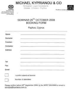 Seminar Booking Form