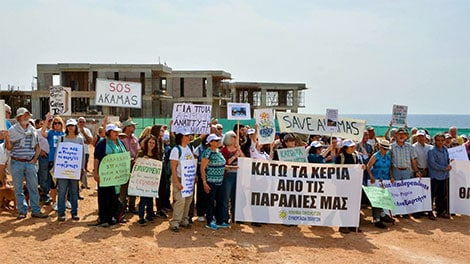 peyia sea caves protest