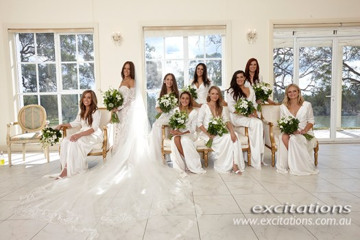 High key indoors available light wedding photo of bridesmaids. Wedding photography in Mildura by excitations, Mildura photographers.