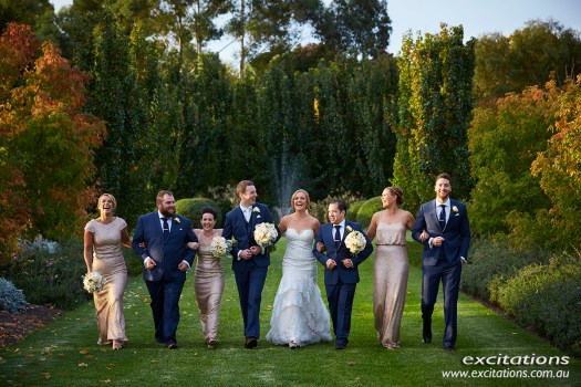 Wedding party walking through Ampelon Garden, Gol Gol. Mildura wedding photos by Excitations, photography Mildura.