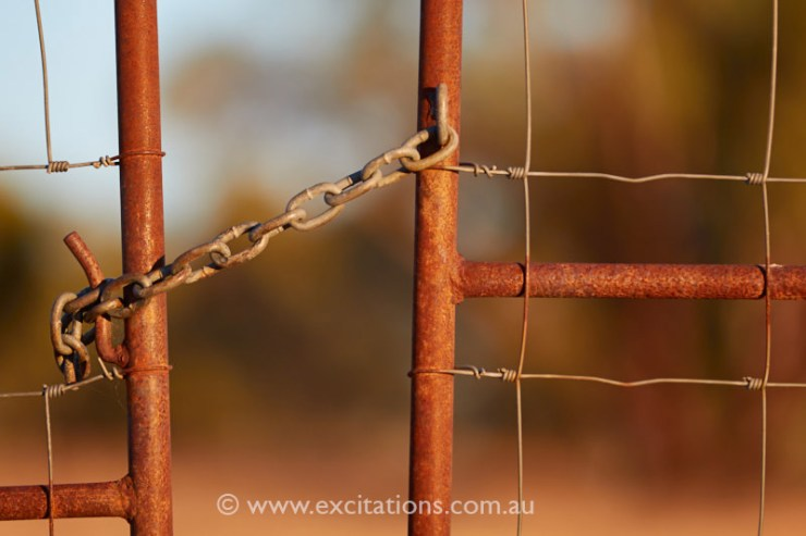Rusty gate close up photo, Pooncarrie Australia. Photoadventures with excitations.com.au