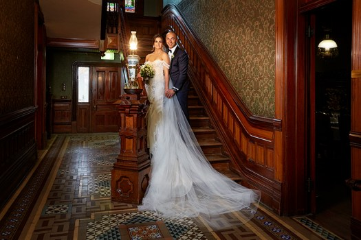 Bride and groom on Rio vista staircase. Photo by excitations Mildura
