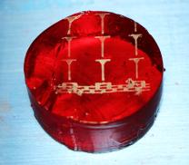 Metal electronics printed on gelatin.
