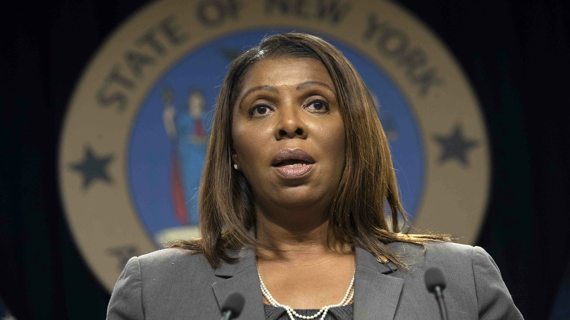 Letitia James, state seal of new york attorney general