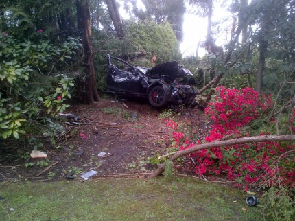 A Mercedes that was involved in a single-vehicle crash on SW Marine Drive in Vancouver on April 12, 2016. The driver is accused of going 250km/h