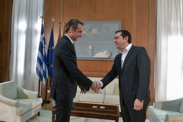 Συνάντηση του πρωθυπουργού Κυριάκου Μητσοτάκη με τον πρόεδρο του Σύριζα Αλέξη Τσίπρα