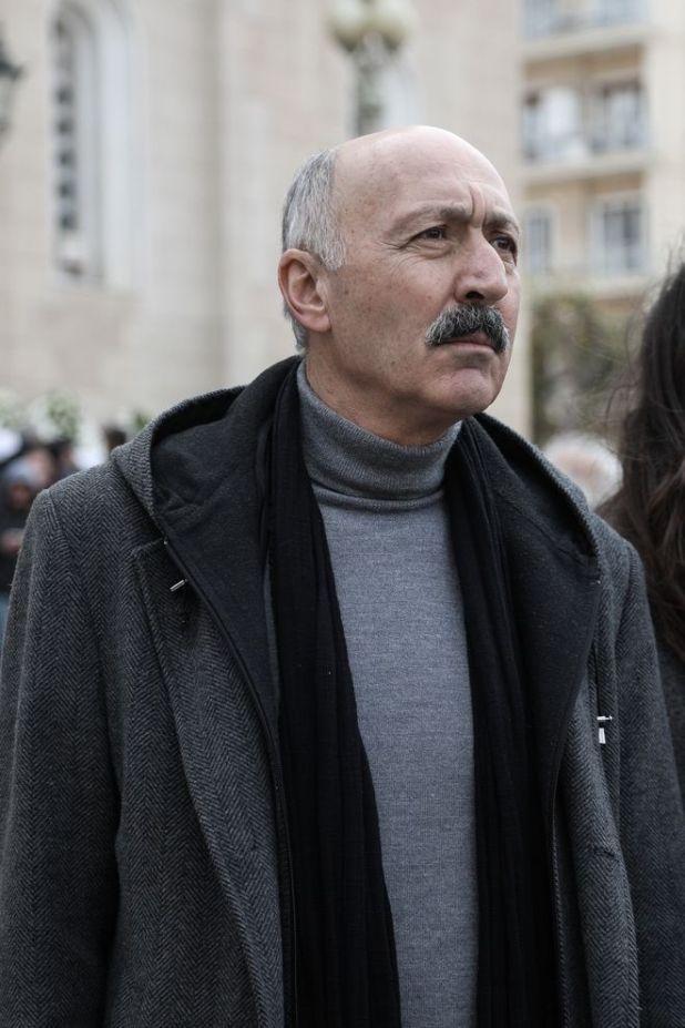 Παύλος Ορκόπουλος στην κηδεία του ηθοποιού Κώστα Βουτσά στην Αθήνα την Παρασκευή 28 Φεβρουαρίου 2020