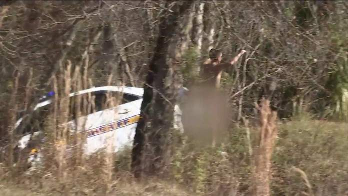 Bare man driving stolen JSO cruiser crashes into woods on I-10