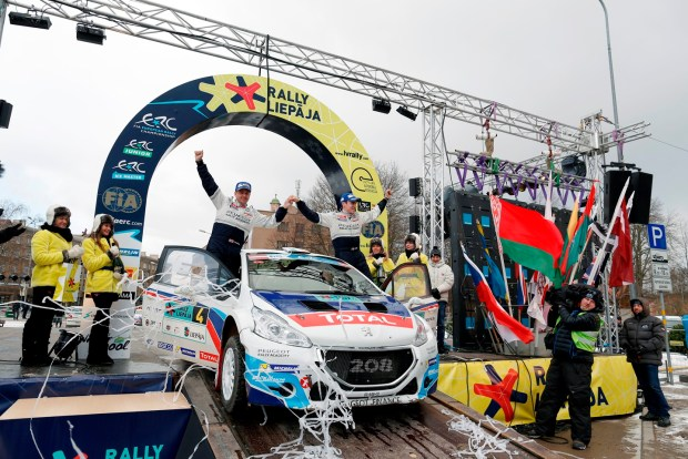 04  BREEN CRAIG IRL Scott Martin  GBR Peugeot 208 T16 Peugeot Rally Academy Ambiance podium during the 2015 European Rally Championship ERC Liepaja rally,  from February 6 to 8th, at Liepaja, Lettonie. Photo François Flamand / DPPI