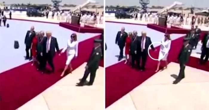 Melania Trump slapped away the Trump's hand