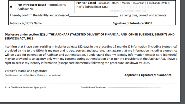 Aadhar Card Application Form