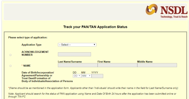 PAN Card Status Via Online