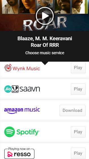 Roar of RRR Song Download |  RRR movie |  MM Keeravani