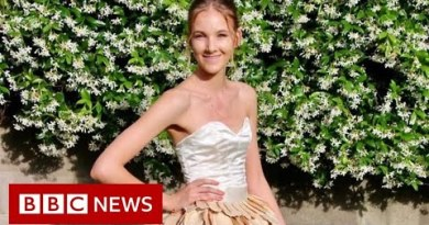 Woman makes 1,400-mango gown to highlight food waste – BBC News