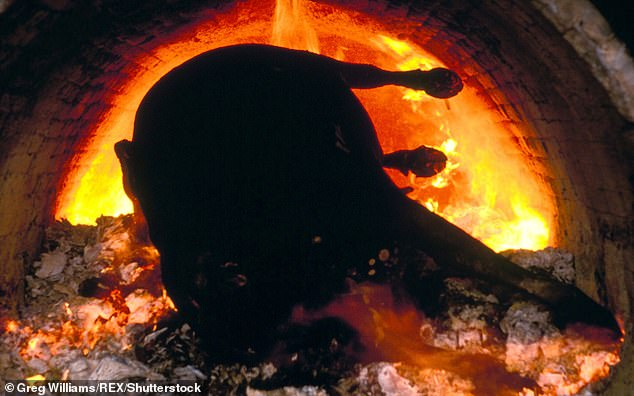 Cows exposed to BSE must be slaughtered and disposed of to ensure they never make it near the food chain (pictured: a cow being cremated during the 1996 cull) ¿ the Scottish Government today said the offspring of the infected cow in Aberdeenshire will be destroyed