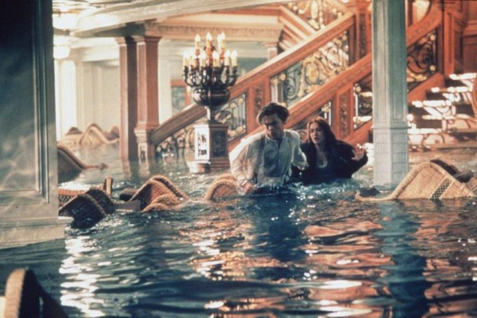 The grand staircase is seen in the 1997 Titanic film as the ship is sinking