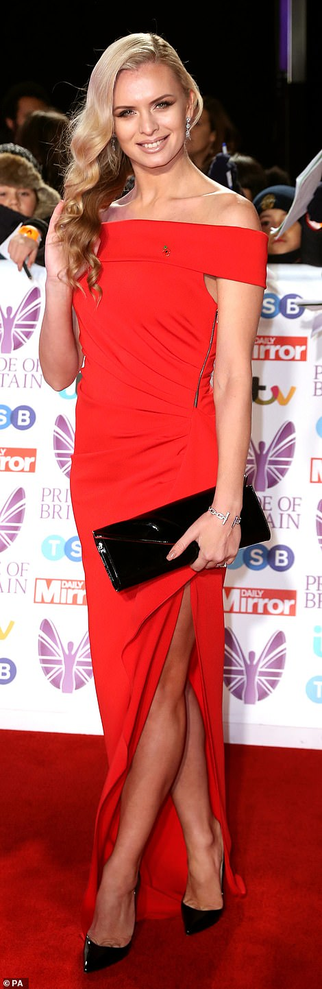 46dd61a7f2bd6f Strictly glamazons  Former Playboy model Nadiya Bychkova looked  showstopping in a scarlet dress as she