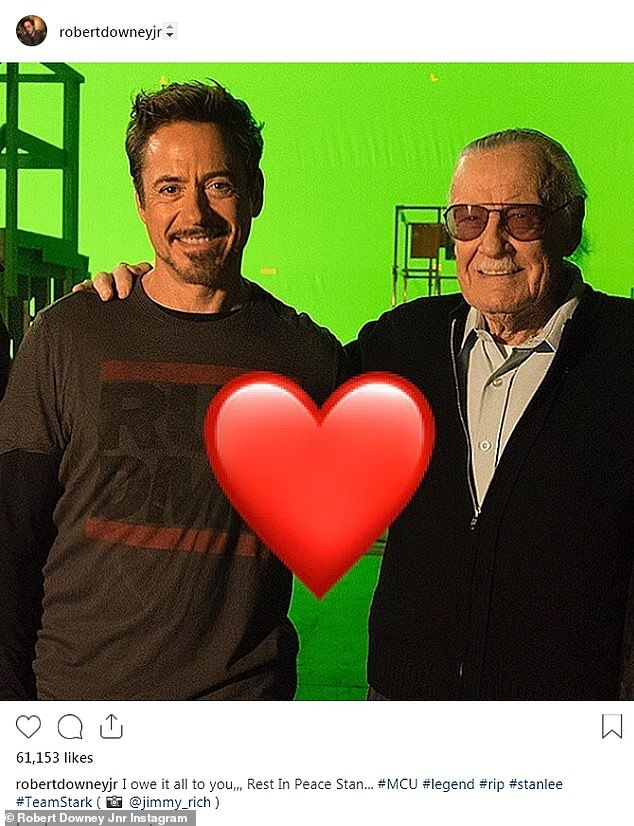 'RIP legend': Ironman Robert Downey Jr., shared this snap saying, 'I owe it all to you'